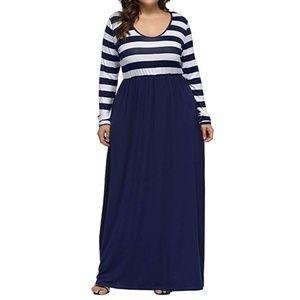Striped navy blue long maxi dress new
